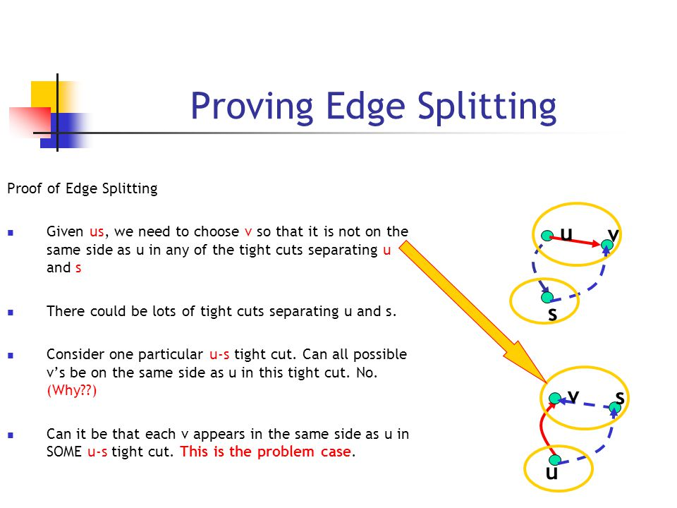 Proving Edge Splitting Proof of Edge Splitting Given us, we need to choose v so that it is not on the same side as u in any of the tight cuts separating u and s There could be lots of tight cuts separating u and s.