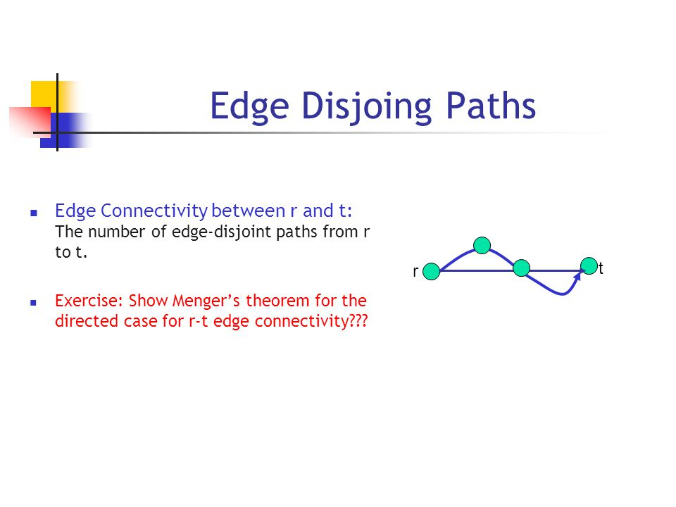 Edge Disjoing Paths Edge Connectivity between r and t: The number of edge-disjoint paths from r to t.