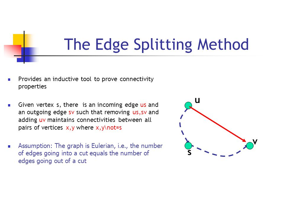 The Edge Splitting Method Provides an inductive tool to prove connectivity properties Given vertex s, there is an incoming edge us and an outgoing edge sv such that removing us,sv and adding uv maintains connectivities between all pairs of vertices x,y where x,y\not=s Assumption: The graph is Eulerian, i.e., the number of edges going into a cut equals the number of edges going out of a cut s u v