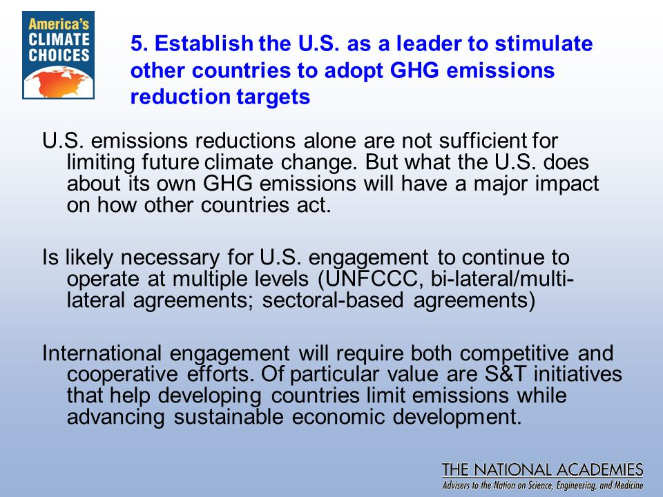 U.S. emissions reductions alone are not sufficient for limiting future climate change.