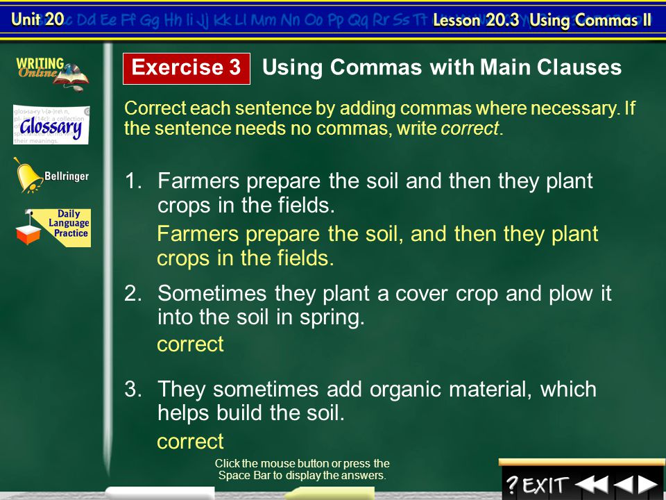Lesson 3-4 Using Commas II (cont.)