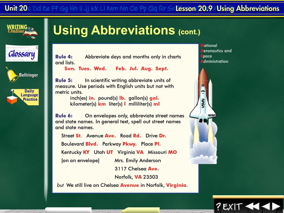 Lesson 9-2 Using Abbreviations Continued on the next slide