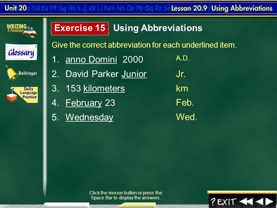 Lesson 9-3 Using Abbreviations (cont.)