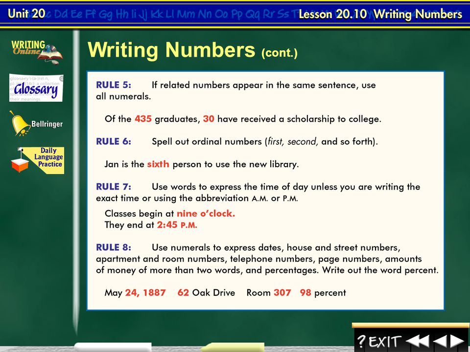 Lesson 10-3 Writing Numbers (cont.) Continued on the next slide