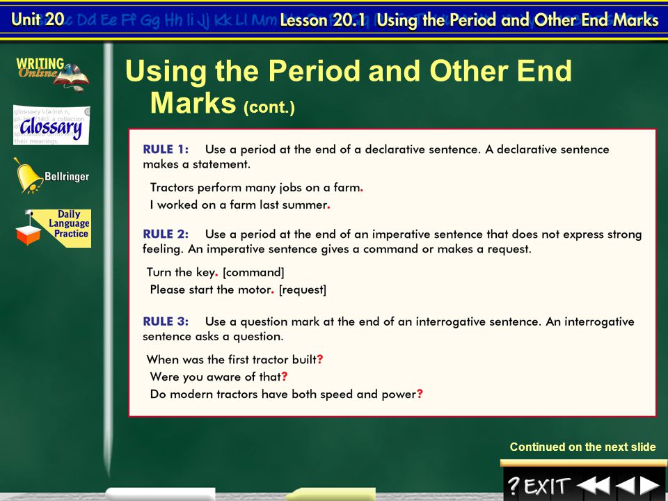 Grammar Review 21 Correct each sentence, adding quotation marks, italics, commas, and end marks where needed.