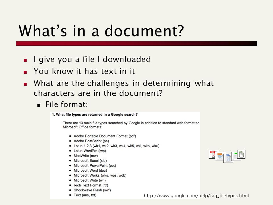 What's in a document.
