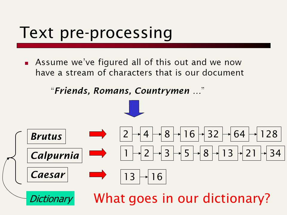 Text pre-processing Assume we've figured all of this out and we now have a stream of characters that is our document Friends, Romans, Countrymen … Brutus Calpurnia Caesar 248163264128 2358132134 1316 1 Dictionary What goes in our dictionary?