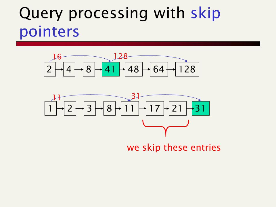 Where do we place skips.Tradeoff: More skips  shorter skip spans  more likely to skip.