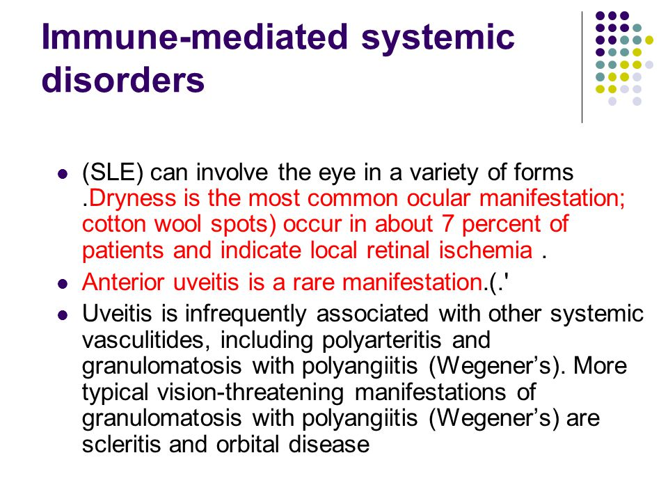 Immune-mediated systemic disorders (SLE) can involve the eye in a variety of forms.Dryness is the most common ocular manifestation; cotton wool spots)