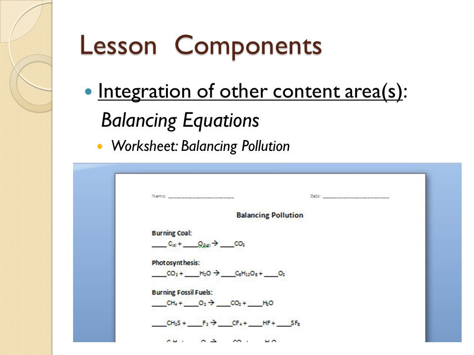 Lesson Components Integration of other content area(s): Balancing Equations Worksheet: Balancing Pollution