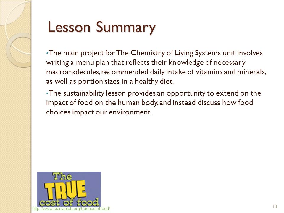 13 Lesson Summary The main project for The Chemistry of Living Systems unit involves writing a menu plan that reflects their knowledge of necessary macromolecules, recommended daily intake of vitamins and minerals, as well as portion sizes in a healthy diet.