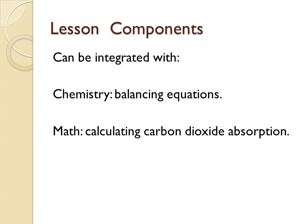 Lesson Components Can be integrated with: Chemistry: balancing equations.