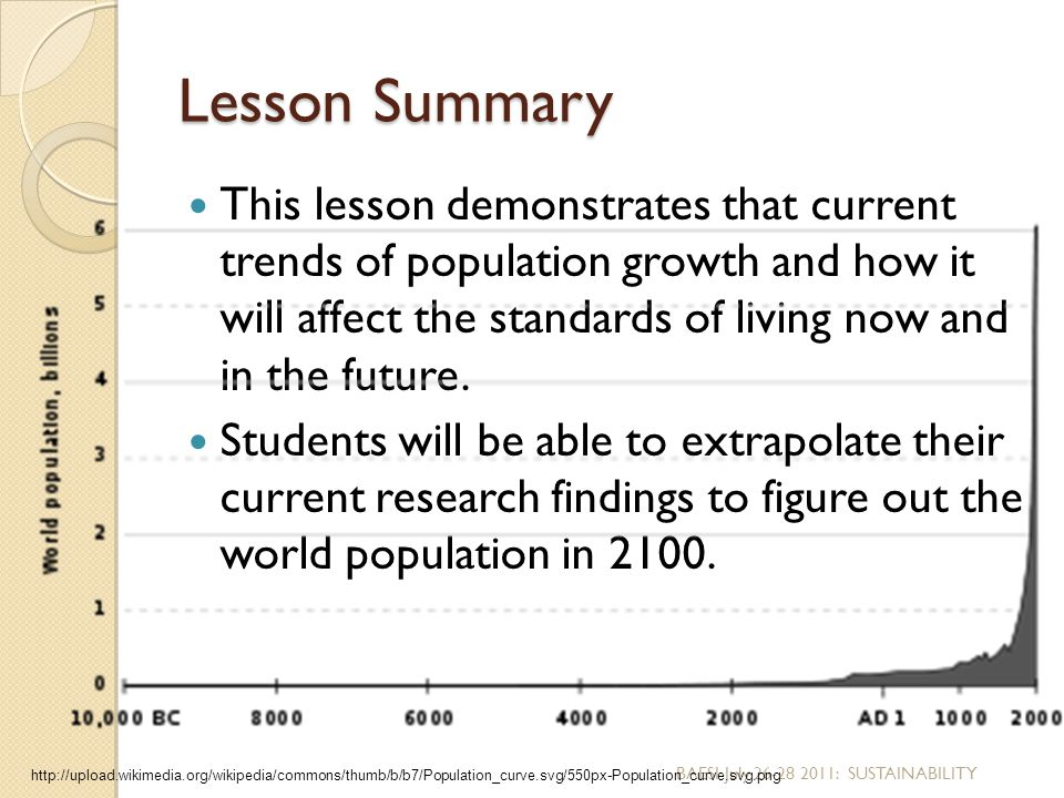Lesson Summary This lesson demonstrates that current trends of population growth and how it will affect the standards of living now and in the future.