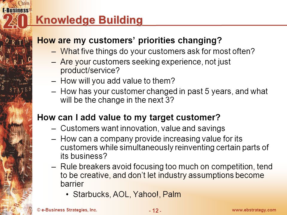 © e-Business Strategies, Inc.www.ebstrategy.com - 12 - Knowledge Building How are my customers' priorities changing.