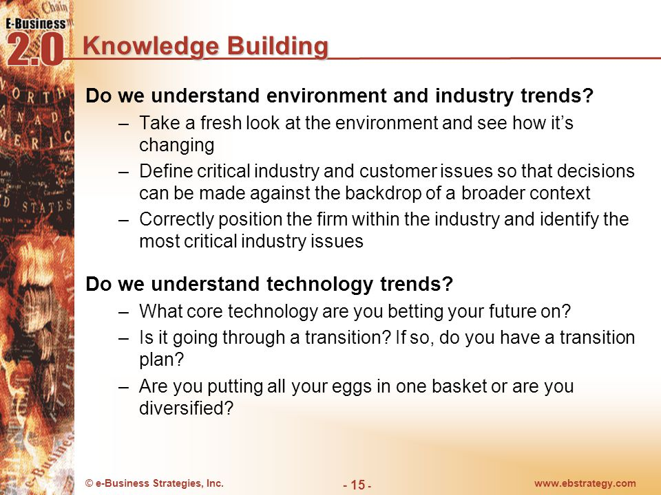 © e-Business Strategies, Inc.www.ebstrategy.com - 15 - Knowledge Building Do we understand environment and industry trends.