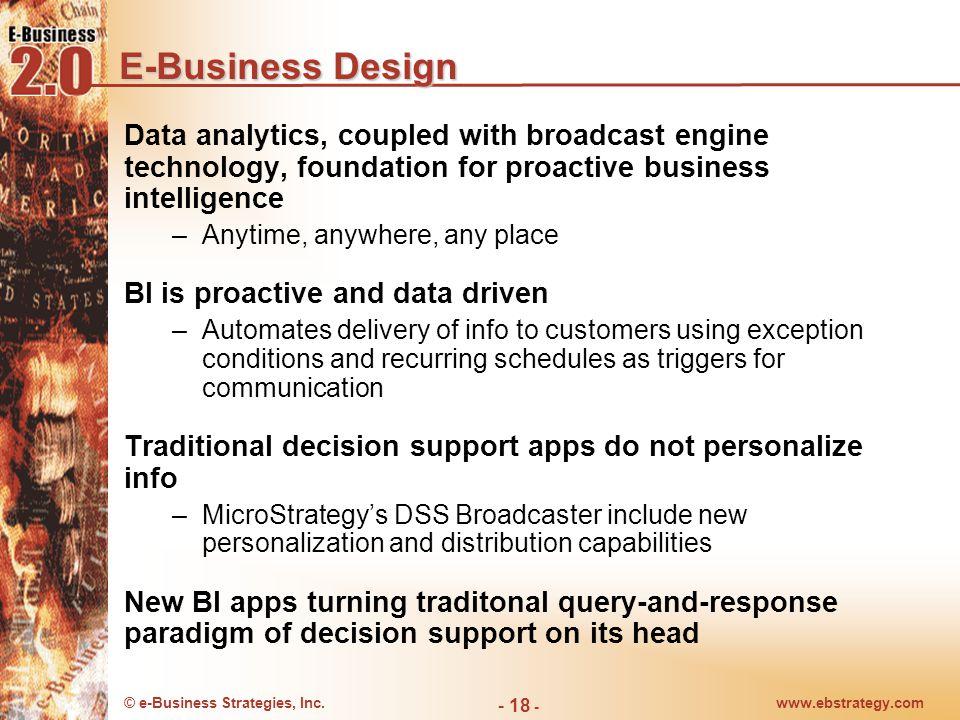 © e-Business Strategies, Inc.www.ebstrategy.com - 18 - E-Business Design Data analytics, coupled with broadcast engine technology, foundation for proa