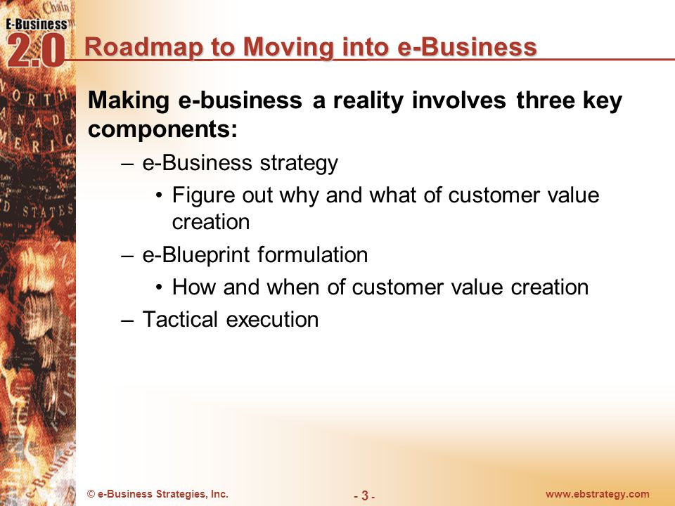 © e-Business Strategies, Inc.www.ebstrategy.com - 3 - Roadmap to Moving into e-Business Making e-business a reality involves three key components: –e-Business strategy Figure out why and what of customer value creation –e-Blueprint formulation How and when of customer value creation –Tactical execution