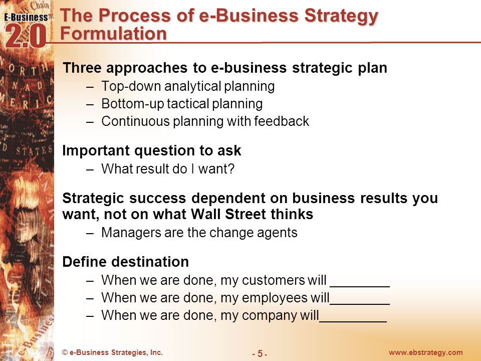 © e-Business Strategies, Inc.www.ebstrategy.com - 5 - The Process of e-Business Strategy Formulation Three approaches to e-business strategic plan –To