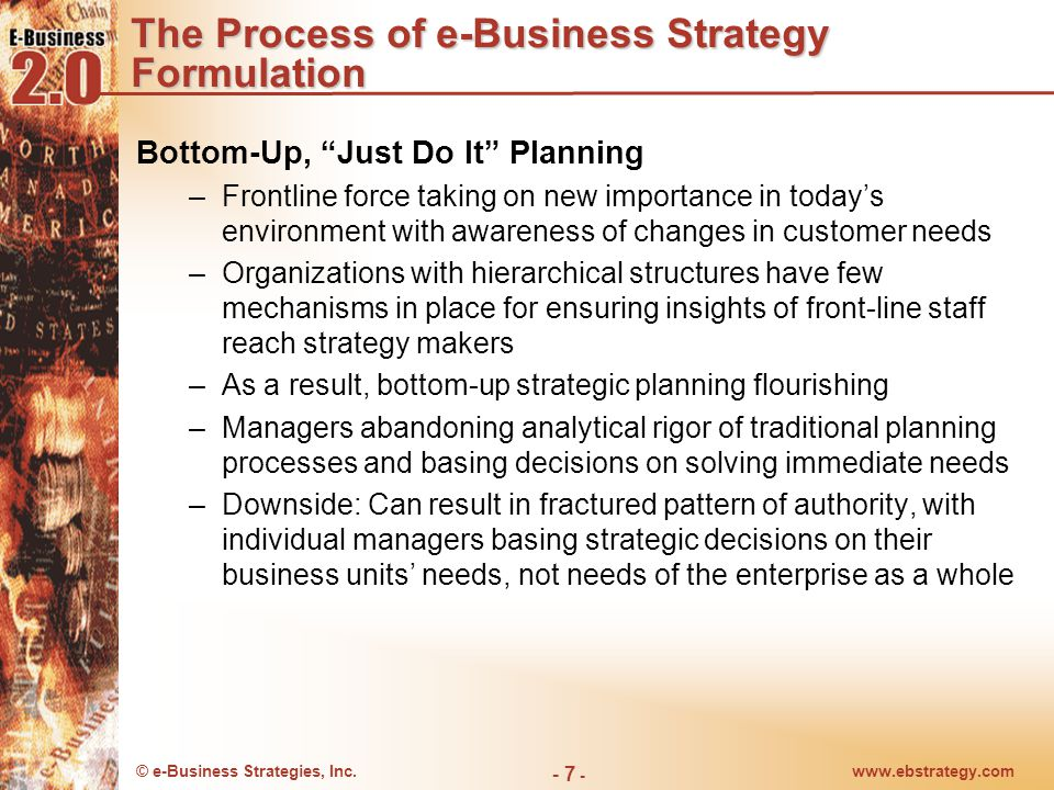 © e-Business Strategies, Inc.www.ebstrategy.com - 7 - The Process of e-Business Strategy Formulation Bottom-Up, Just Do It Planning –Frontline force taking on new importance in today's environment with awareness of changes in customer needs –Organizations with hierarchical structures have few mechanisms in place for ensuring insights of front-line staff reach strategy makers –As a result, bottom-up strategic planning flourishing –Managers abandoning analytical rigor of traditional planning processes and basing decisions on solving immediate needs –Downside: Can result in fractured pattern of authority, with individual managers basing strategic decisions on their business units' needs, not needs of the enterprise as a whole