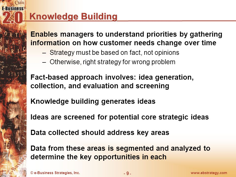 © e-Business Strategies, Inc.www.ebstrategy.com - 9 - Knowledge Building Enables managers to understand priorities by gathering information on how cus