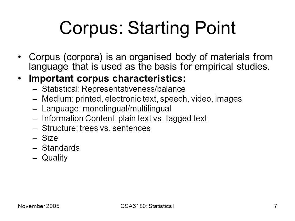 November 2005CSA3180: Statistics I28 Punctuation Detaching spaces, semi-colons, commas, etc.
