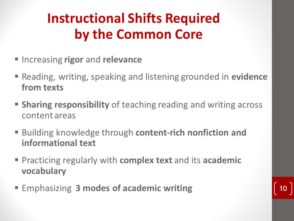 Instructional Shifts Required by the Common Core  Increasing rigor and relevance  Reading, writing, speaking and listening grounded in evidence from