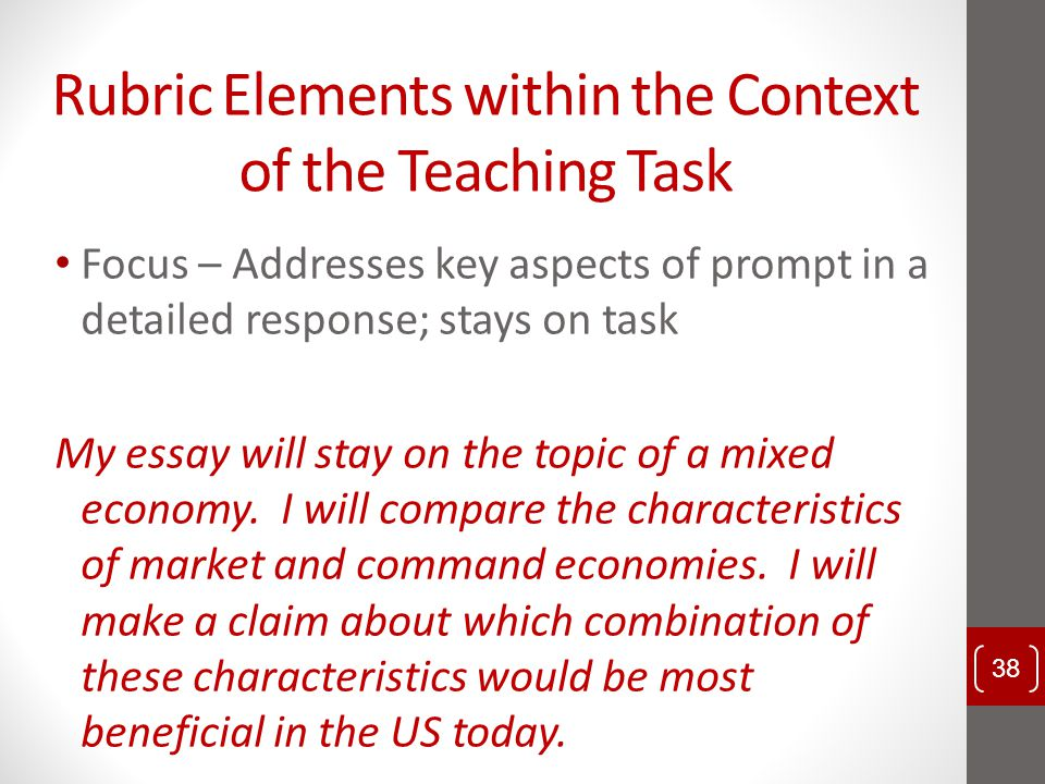 Rubric Elements within the Context of the Teaching Task Focus – Addresses key aspects of prompt in a detailed response; stays on task My essay will st