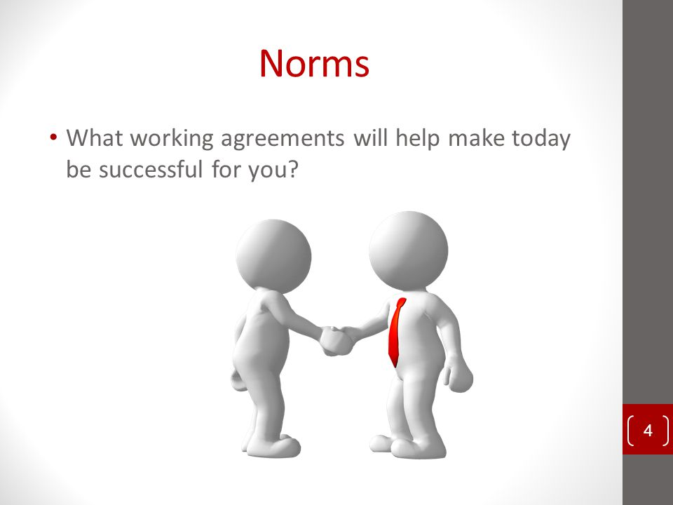 Norms What working agreements will help make today be successful for you? 4