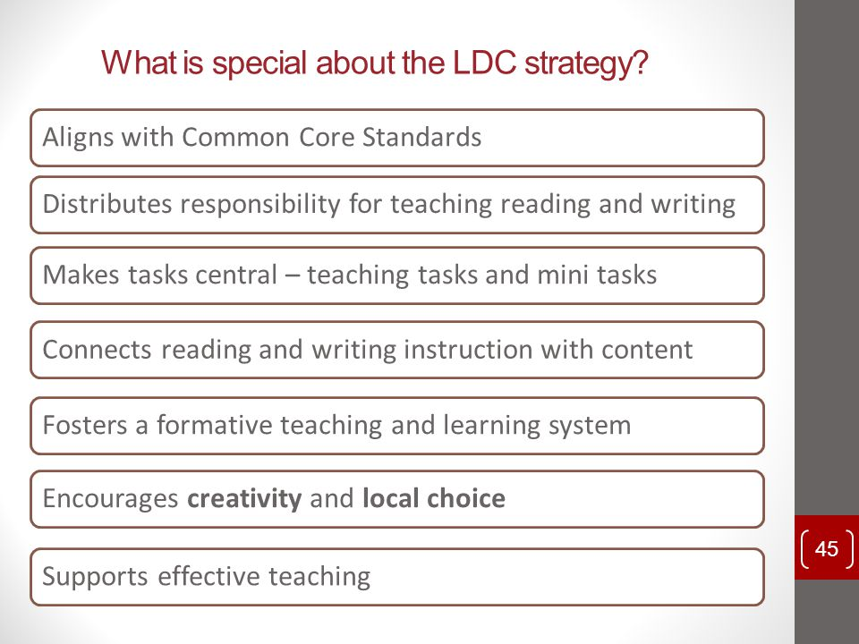 What is special about the LDC strategy? Aligns with Common Core StandardsDistributes responsibility for teaching reading and writingMakes tasks centra