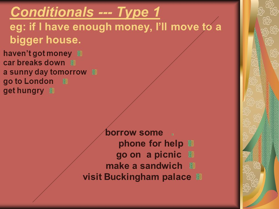 Conditionals --- Type 1 eg: if I have enough money, I'll move to a bigger house. haven't got money car breaks down a sunny day tomorrow go to London g