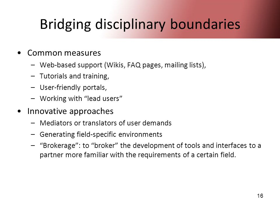 16 Bridging disciplinary boundaries Common measures –Web-based support (Wikis, FAQ pages, mailing lists), –Tutorials and training, –User-friendly port