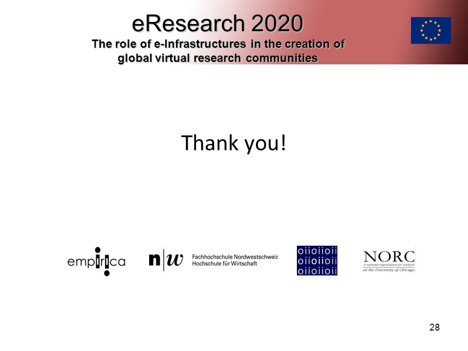 28 Thank you! eResearch 2020 The role of e-Infrastructures in the creation of global virtual research communities