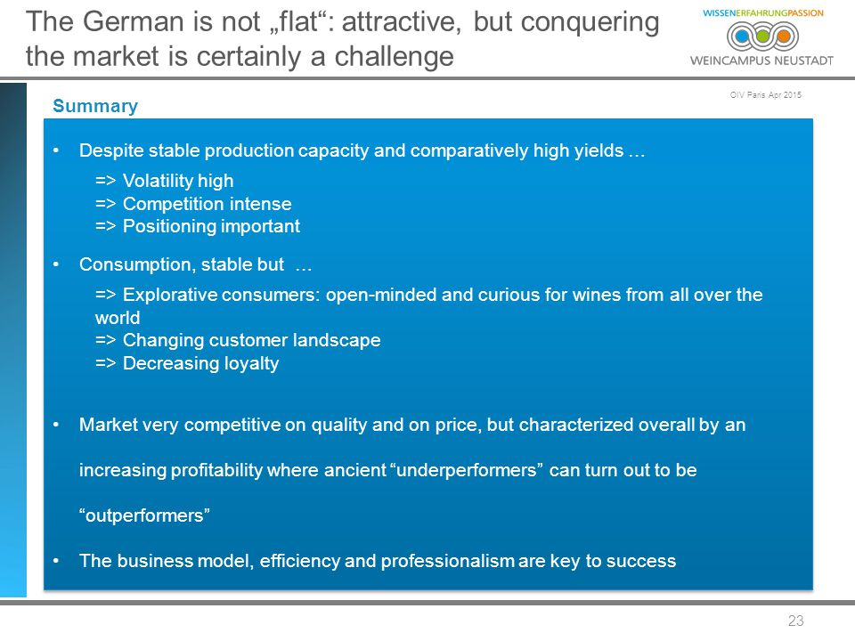 "OIV Paris Apr 2015 23 The German is not ""flat : attractive, but conquering the market is certainly a challenge Summary Despite stable production capacity and comparatively high yields … => Volatility high => Competition intense => Positioning important Consumption, stable but … => Explorative consumers: open-minded and curious for wines from all over the world => Changing customer landscape => Decreasing loyalty Market very competitive on quality and on price, but characterized overall by an increasing profitability where ancient underperformers can turn out to be outperformers The business model, efficiency and professionalism are key to success Despite stable production capacity and comparatively high yields … => Volatility high => Competition intense => Positioning important Consumption, stable but … => Explorative consumers: open-minded and curious for wines from all over the world => Changing customer landscape => Decreasing loyalty Market very competitive on quality and on price, but characterized overall by an increasing profitability where ancient underperformers can turn out to be outperformers The business model, efficiency and professionalism are key to success"
