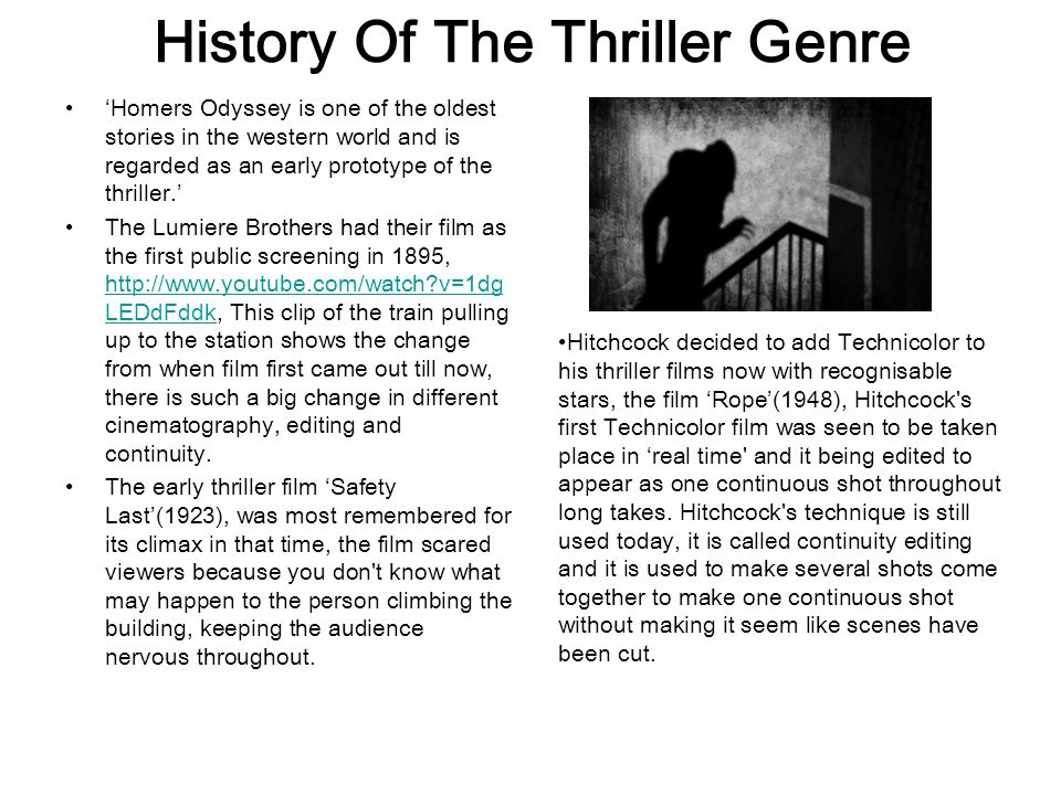 Hybrid Thrillers and Sub-Genres Thrillers are often hybrids- there are lots of varieties of suspense- thrillers, Action or Adventure thrillers, Sci-Fi thrillers (Such as Alien) Crime-Caper thrillers, such as The French Connection) Western Thrillers (such as High Noon) Film-Noir thrillers, (for example Double Indemnity There can also be romantic comedy- thrillers, such as Harold Lloyds 'Safety Last' Thrillers have different sub- genres, Examples of sub-genres are: Crime, Medical, Eco/Disaster, Romance 'gone bad?'/stalker, serial killer, psycholigisized, legal, spy, action, An example of a Eco/Disaster is, 'The Day After Tomorrow this is a good example because it has ecological factors in it which relate to Eco and Disaster, but however it also creates tension throughout the film because the audience don't know what will happen next.