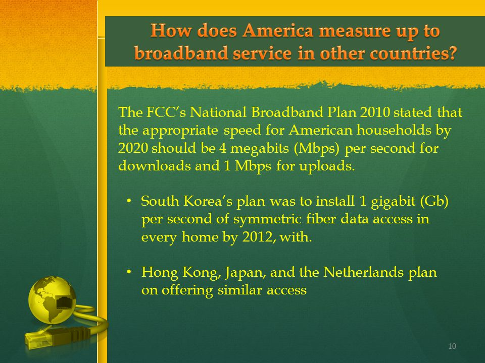 The FCC's National Broadband Plan 2010 stated that the appropriate speed for American households by 2020 should be 4 megabits (Mbps) per second for do