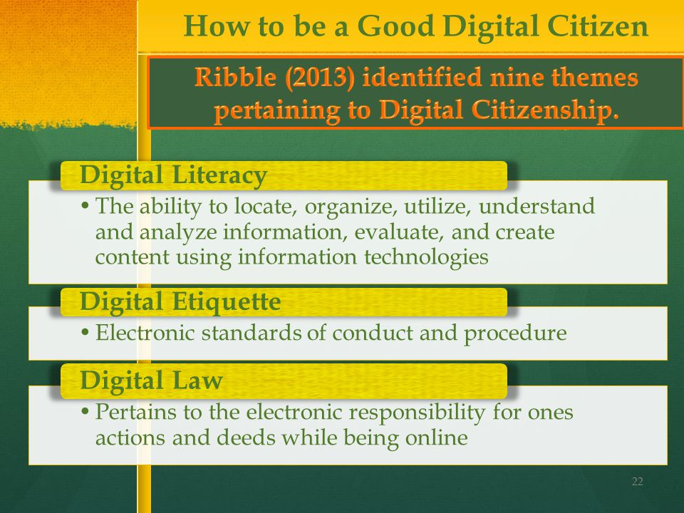 22 How to be a Good Digital Citizen The ability to locate, organize, utilize, understand and analyze information, evaluate, and create content using information technologies Digital Literacy Electronic standards of conduct and procedure Digital Etiquette Pertains to the electronic responsibility for ones actions and deeds while being online Digital Law