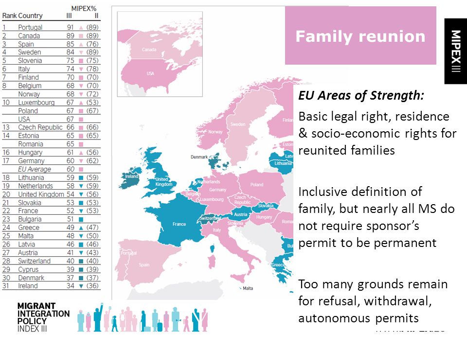 Family reunion EU Areas of Strength: Basic legal right, residence & socio-economic rights for reunited families Inclusive definition of family, but nearly all MS do not require sponsor's permit to be permanent Too many grounds remain for refusal, withdrawal, autonomous permits