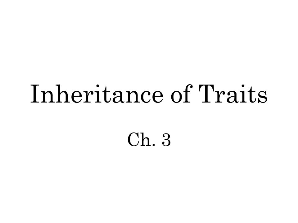 Inheritance of Traits Ch. 3