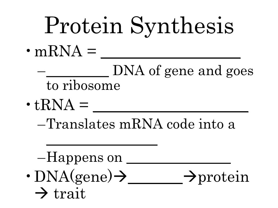 Protein Synthesis mRNA = __________________ –_________ DNA of gene and goes to ribosome tRNA = ____________________ –Translates mRNA code into a ________________ –Happens on _______________ DNA(gene)  _______  protein  trait