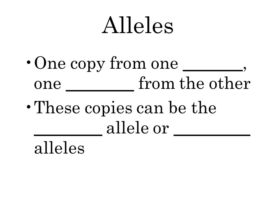 Alleles One copy from one _______, one ________ from the other These copies can be the ________ allele or _________ alleles