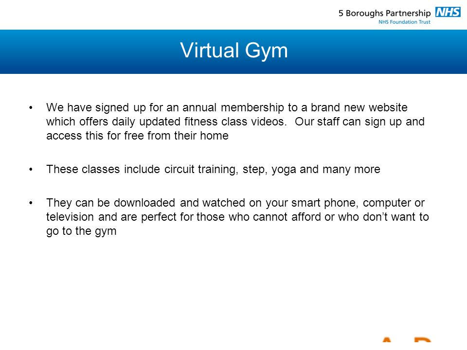 Virtual Gym We have signed up for an annual membership to a brand new website which offers daily updated fitness class videos.