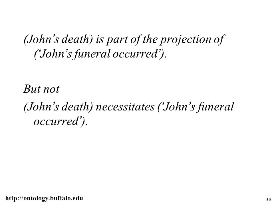 http://ontology.buffalo.edu 38 (John ' s death) is part of the projection of ( ' John ' s funeral occurred ' ). But not (John ' s death) necessitates