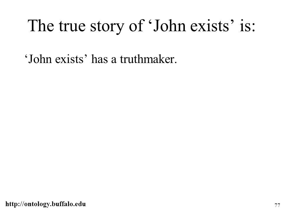 http://ontology.buffalo.edu 77 The true story of 'John exists' is: 'John exists' has a truthmaker.