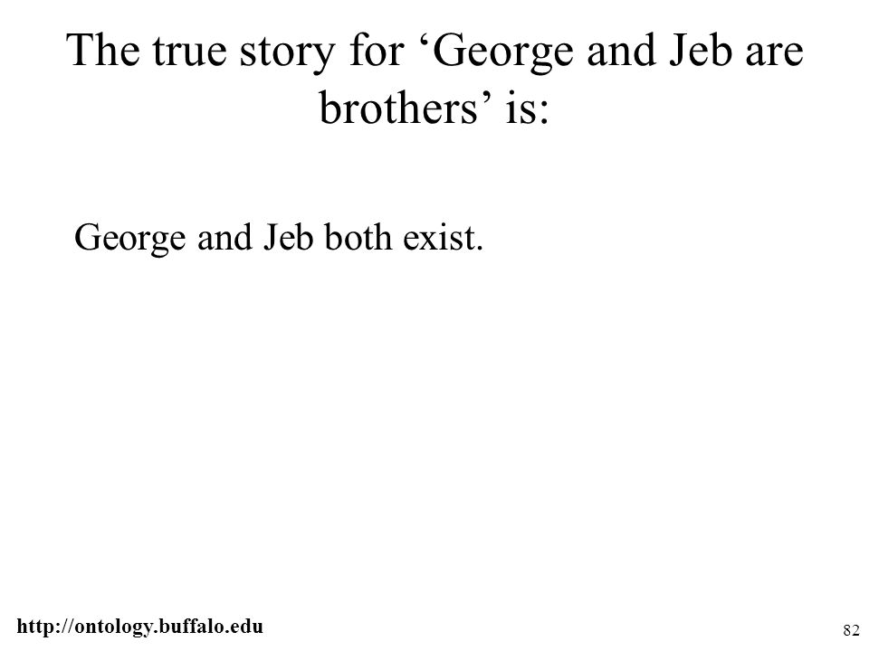 http://ontology.buffalo.edu 82 The true story for 'George and Jeb are brothers' is: George and Jeb both exist.