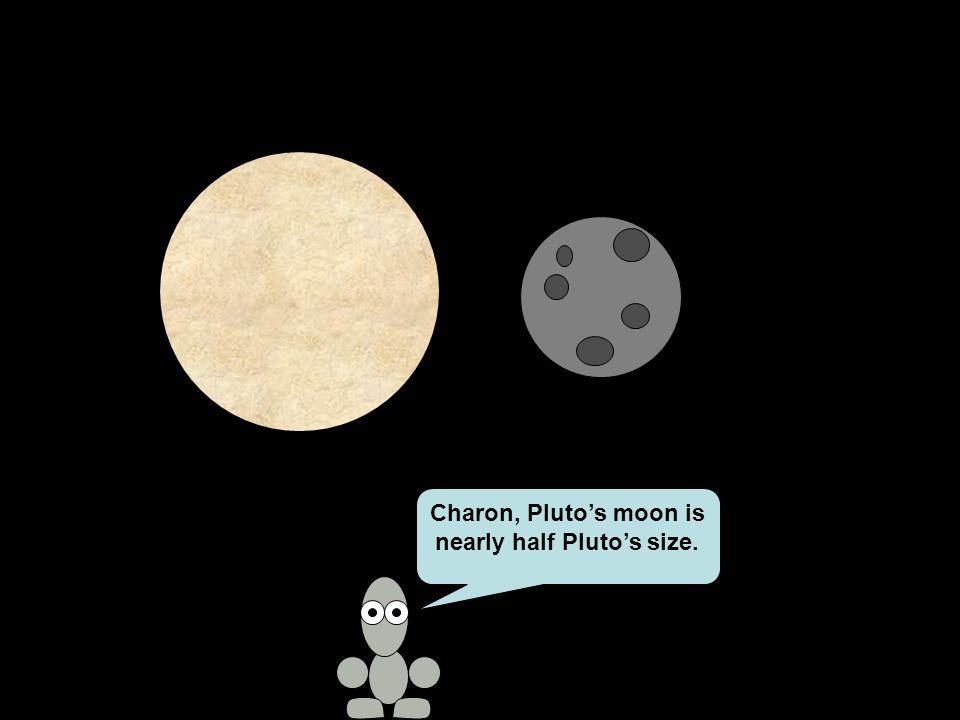 Charon, Pluto's moon is nearly half Pluto's size.