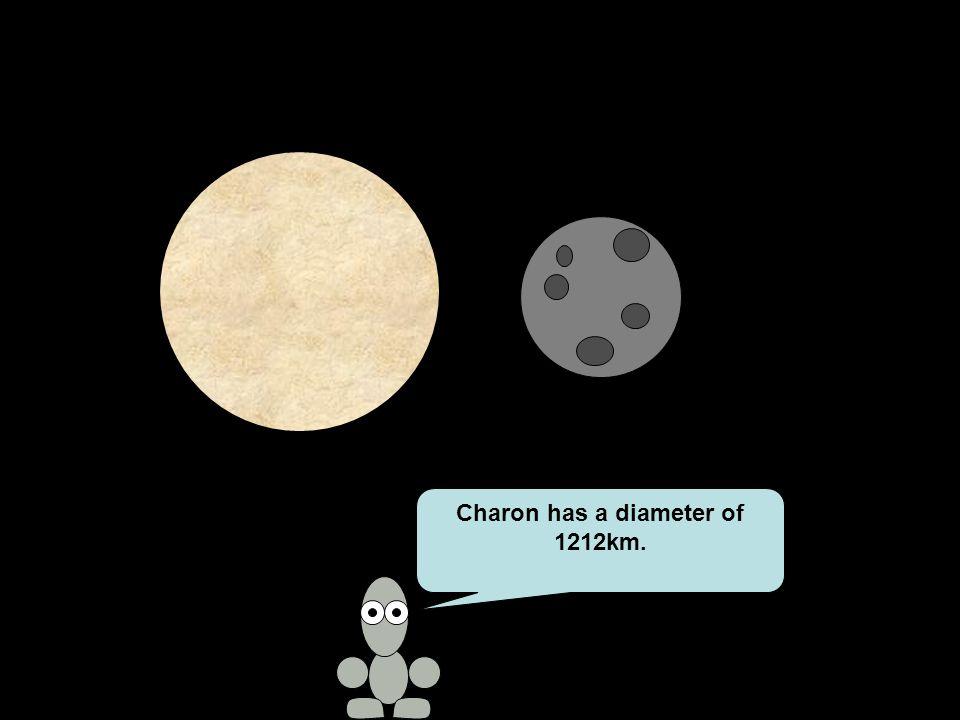 Charon has a diameter of 1212km.