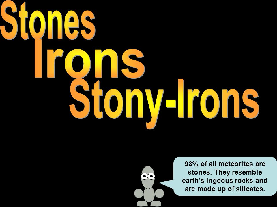 93% of all meteorites are stones. They resemble earth's ingeous rocks and are made up of silicates.