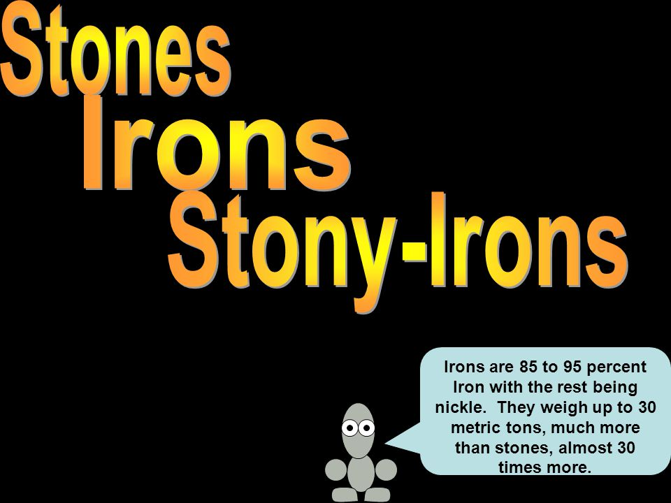 Irons are 85 to 95 percent Iron with the rest being nickle.