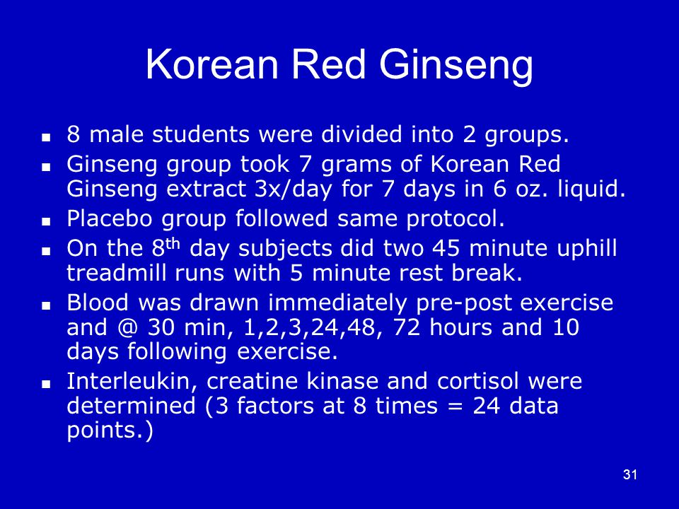 31 Korean Red Ginseng 8 male students were divided into 2 groups.