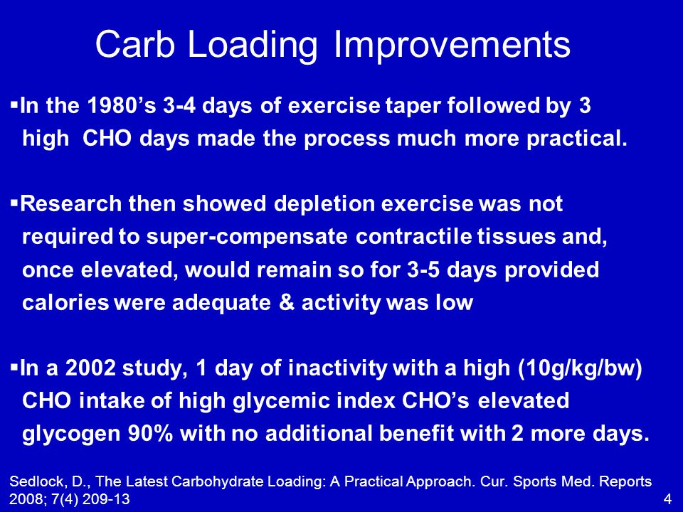 Carb Loading Improvements   In the 1980's 3-4 days of exercise taper followed by 3 high CHO days made the process much more practical.